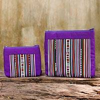 Cotton blend cosmetic bags, 'Exotic Lisu in Purple' (pair)