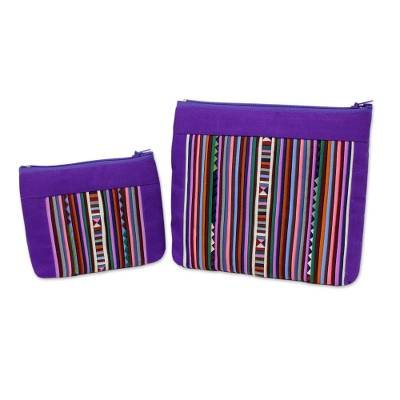 Cotton blend cosmetic bags, 'Exotic Lisu in Purple' (pair) - Purple and Multicolor Cosmetic Travel Bags (pair)