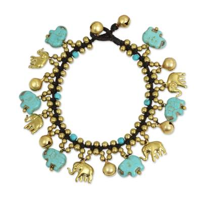 Elephant Charm Bracelet with Brass and Blue Calcite Beads
