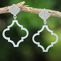 Sterling silver dangle earrings, 'Classical Ogee' - Fair Trade Brushed Silver Post Earrings from Thailand