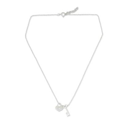 Handcrafted Silver Heart Lock and Key Pendant Necklace