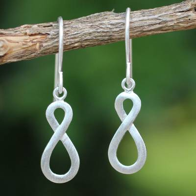 Sterling silver dangle earrings, 'Into Infinity' - Handcrafted Infinity Symbol Sterling Silver Dangle Earrings
