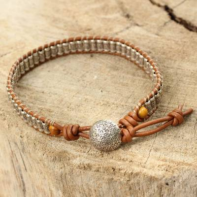 Silver and leather wristband bracelet, 'Ethnic Chic' - Hand Made Leather Wristband Bracelet with Hill Tribe Silver