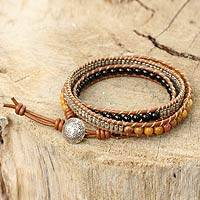 Onyx and jasper leather wrap bracelet, 'Hill Tribe Sunshine' - Onyx Jasper and Silver on Handcrafted Leather Wrap Bracelet