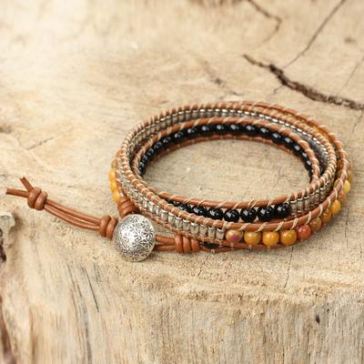 Onyx and jasper leather wrap bracelet, 'Hill Tribe Sunshine' - Onyx Jasper and Silver on Handcrafted Leather Wrap Bracelet