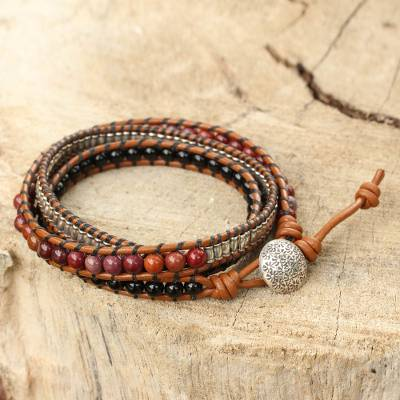 Onyx and jasper leather wrap bracelet, 'Hill Tribe Sunrise - Onyx Jasper and Silver on Handcrafted Leather Wrap Bracelet