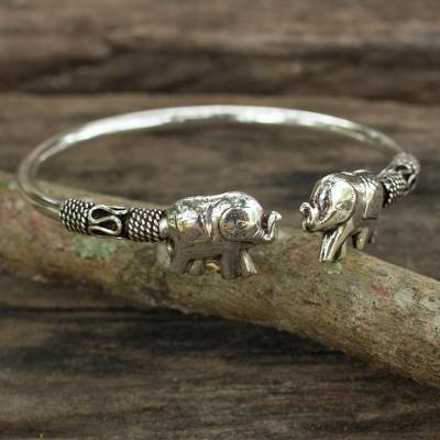 62098d5ab7b40 Artisan Crafted Sterling Silver Elephant Cuff Bracelet, 'Proud Elephant'