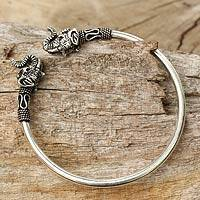 Sterling silver cuff bracelet, 'Cheerful Elephant'
