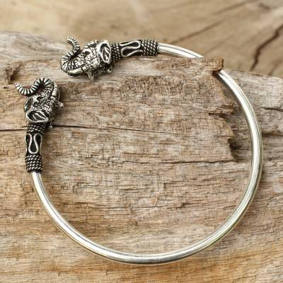 Sterling silver cuff bracelet, 'Cheerful Elephant' - Elephant Themed Silver 925 Cuff Bracelet from Thailand