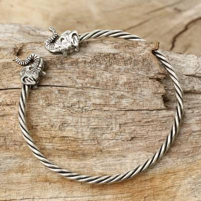 Sterling silver cuff bracelet, 'Elephant Meeting' - Elephant Motif Sterling Silver Cuff Bracelet from Thailand