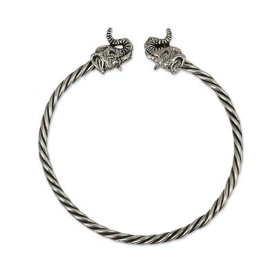 Elephant Motif Sterling Silver Cuff Bracelet from Thailand