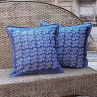 Cotton batik cushion covers, 'Double Spiral' (pair) - Fair Trade Blue and White Batik Cushion Covers (pair)