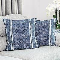 Cotton batik cushion covers, 'Hmong Energy' (pair) - Thai Artisan Crafted Blue Batik Cotton Pillow Covers (pair)