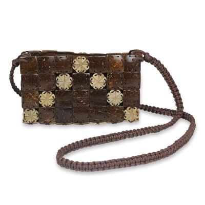 Coconut shell shoulder bag, 'Tropical Tiles' - Handcrafted Thai Coconut Shell Macrame Shoulder Bag