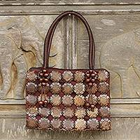 Coconut shell handbag, 'Sunflower' - Artisan Crafted Brown Coconut Shell Handbag from Thailand