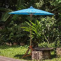Decorative garden umbrella, 'Happy Garden in Turquoise' - Handmade Blue Cotton and Bamboo Garden Umbrella