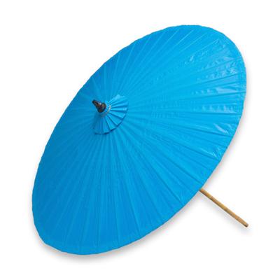 Handmade Blue Cotton and Bamboo Garden Umbrella Happy Garden in