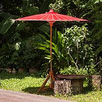 Decorative garden umbrella, 'Happy Garden in Scarlet' - Bright Red Decorative Outdoor Umbrella from Thailand