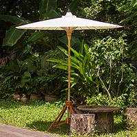 Decorative garden umbrella, 'Happy Garden in White' - Handmade Thai Style Garden Umbrella in White Cotton
