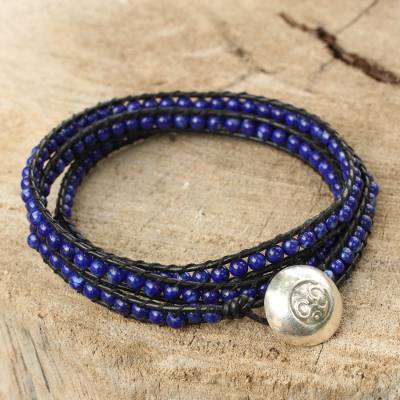 Lapis lazuli wrap bracelet, 'Ocean Om' - Lapis Lazuli and Leather Wrap Bracelet with Silver Button