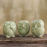 Celadon ceramic statuettes, 'Green Owl Trio' (set of 3) - Fair Trade Green Celadon Ceramic Owl Statuettes (set of 3)