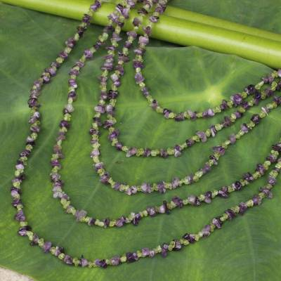 Amethyst and peridot strand necklace, 'Lavender Spring' - Beaded Amethyst and Peridot Necklace from Thailand