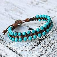 Beaded leather bracelet, 'Peaceful Turquoise' - Artisan Crafted Recon Turquoise and Leather Bracelet