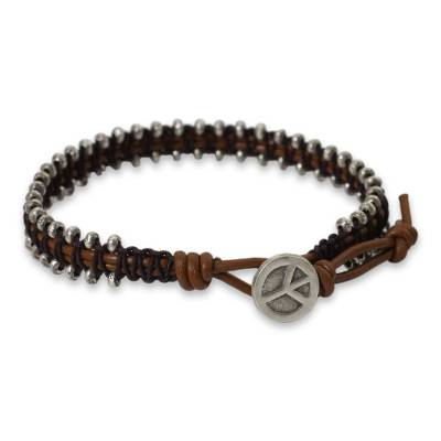 Hill tribe silver beaded bracelet, 'Peaceful Tribe' - Thai Hill Tribe Silver Beaded Bracelet on Leather Cords