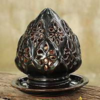 Ceramic candleholder, 'Midnight Lotus' - Handmade Dark Brown Ceramic Lotus Blossom  Candleholder