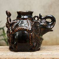 Ceramic vase, 'Siamese Elephant' - Thai Handcrafted Elephant Theme Dark Brown Ceramic Vase