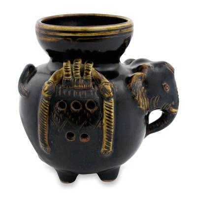 Thai Handcrafted Elephant Theme Ceramic Oil Warmer