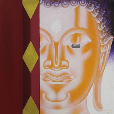 Acrylic Painting of Buddha and Door from Thailand