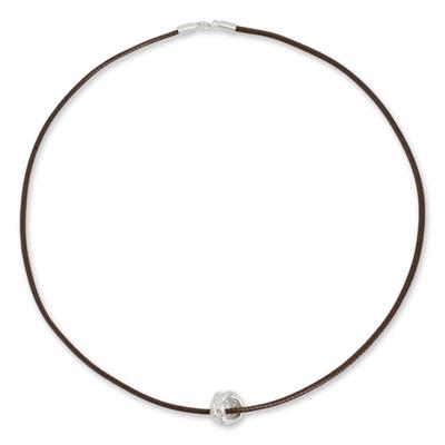 Men's sterling silver pendant necklace, 'Endless Knot' - Brushed Satin Sterling Silver Pendant Necklace for Men