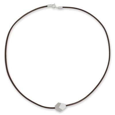 Men's sterling silver pendant necklace, 'Facets' - Men's Sterling Silver Geometric Pendant Necklace