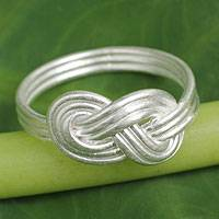 Men's sterling silver ring, 'Infinity Knot' - Men's Brushed Silver Infinity Symbol Motif Ring