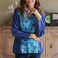 Cotton batik blouse, 'Ocean Blue Hibiscus' - Fair Trade Dark Blue Floral Batik Cotton Blouse