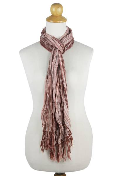 Cotton batik scarf, 'Sandy Paths' - Handwoven Crinkled Cotton Striped Scarf from Thailand