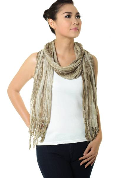Cotton batik scarf, 'Olive Paths' - Hand Dyed Olive Green and White Cotton Gauze Scarf