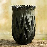 Decorative wood vase, 'Dark Origins' - Black Lacquered Artisan Wood Vase from Thailand