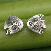 Sterling silver flower earrings, 'Tribal Carps' - Hill Tribe Sterling Silver Earrings in Handmade Fish Shape