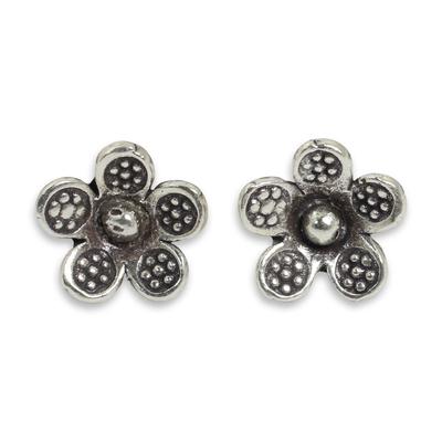 Karen Hill Tribe Jewelry Sterling Silver Button Earrings