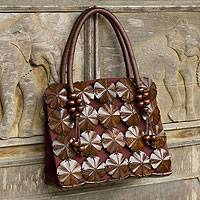 Coconut shell handbag, 'Blooming Coconut' - Fair Trade Handbag Handcrafted from Coconut Shells