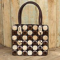 Coconut shell handbag, 'Naturally Great' - Fair Trade Thai Coconut Shell and Brown Cotton Handbag