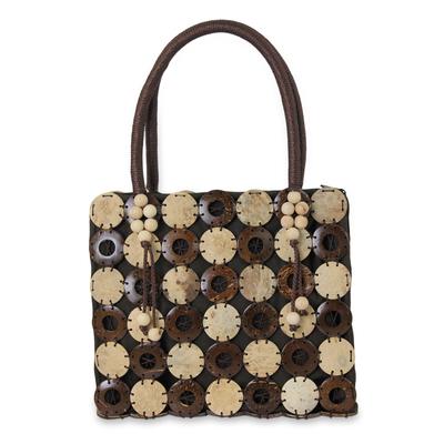 Coconut shell handbag, 'Naturally Great' - Fair Trade Thai Coconut Shell and Brown Cotton Handbag