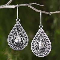 Silver dangle earrings, 'Thai Dew'