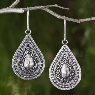 Silver dangle earrings, 'Thai Dew' - Silver 950 Thai Hill Tribe Style Dangle Earrings