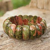 Unakite stretch bracelet, 'Simply Natural' - Natural Unakite Gemstone Stretch Bracelet from Thailand