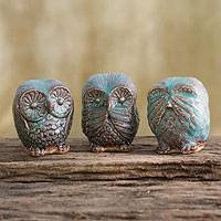 Ceramic statuettes, 'Turquoise Owl Trio' (set of 3) - Handcrafted Thai Set of 3 Ceramic Owl Figurines