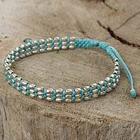 Silver beaded cord bracelet, 'Friendly Blue' - Light Blue Macrame Adjustable Bracelet with 950 Silver Beads