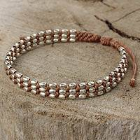 Silver beaded cord bracelet, 'Friendly Tan' - Light Brown Wristband Bracelet with 950 Silver Beads